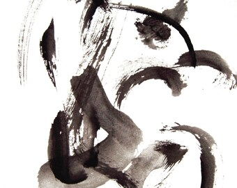 Abstract Ink Painting, Black and White, Modern Painting, Modern Art, Contemporary Art, Small Abstract Painting