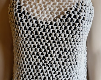 Crocheted White Tank