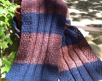 Navy blue and rust rib knit scarf, variegated rust, blue and purple stripes, long, warm and lightweight, quality knit scarf