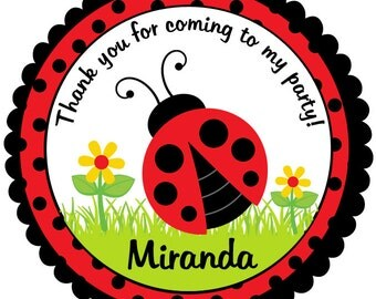 Ladybug Birthday Stickers-Lady Bug Birthday Tags