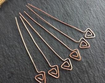 Copper headpins, arrow head pins, triangle headpins, bright copper, headpins set, set of 6 headpins, Bright headpins, jewellery findings