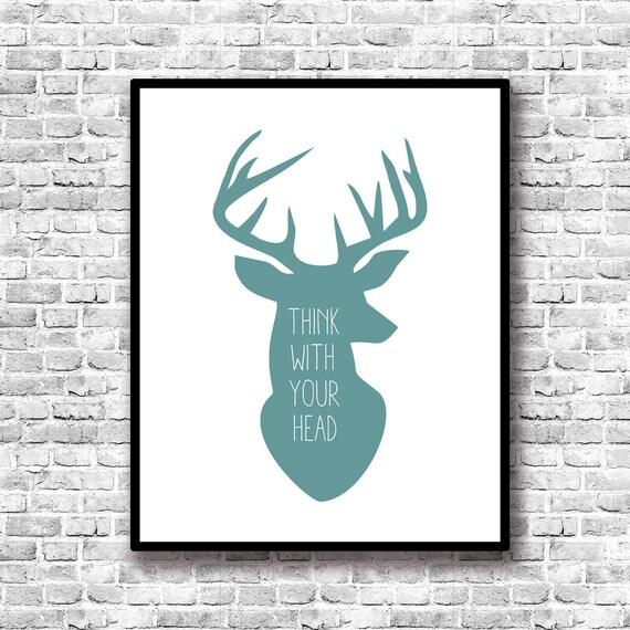 Art culos similares a silueta cabeza ciervo l mina decorativa frase motivacional decoracion - Cabeza de ciervo decoracion ...