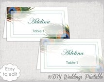 """Place card template """"Peacock"""" wedding place card templates DIY printable name cards YOU EDIT digital escort cards Word instant download"""