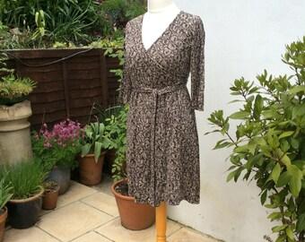 Wrap dress UK10 US 6 EU 38, LK Bennett, olive black brown silk