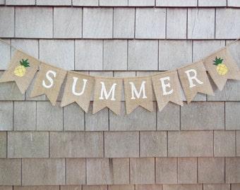 Summer Banner, Summer Bunting, Summer Garland, Home Decor, Summer Decor, Burlap Banner, Burlap Bunting, Pineapple Banner, Burlap garland