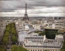 Paris Photography, France Print, Eiffel Tower Photo, Cloudy Paris, Travel Photography, French Decor, Streets of Paris, Paris Print, Europe