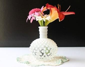 Opalescent milk glass hobnail perfume jar, no stopper, cottage decor
