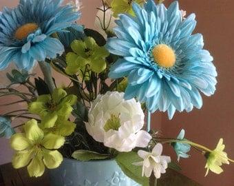 Gerbera Daisy, Peony, Silk Floral, Faux Flower Arrangement, Torquoise Flowers, Silk Floral Arrangement, Silk flowers, Flowers in Basket