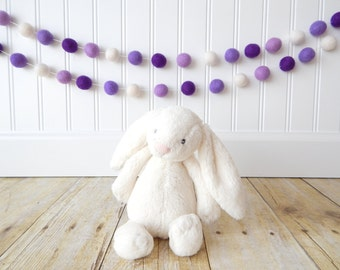 Garland, Purple Garland, Birthday Party Decor, Felt Ball Garland, Pom Pom Garland, Girl Nursery Decor, Birthday Decoration, Baby Girl Room