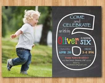 Chalkboard 6th Birthday Invitation with Picture. Sixth Birthday Invite with Photo. Baby Boy or Girl Birthday Party. Printable Digital DIY