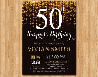 Surprise 50th birthday invitation for women. Fifty and fabulous. Golden 50. Gold Glitter Glam Birthday Invite.Any age. Printable digital
