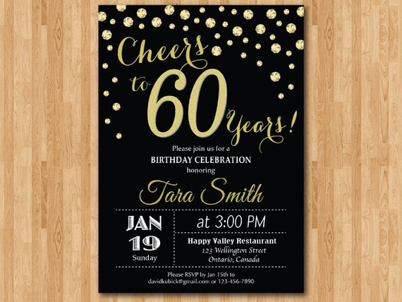 60th birthday invitation gold glitter cheers to 60 years like this item stopboris
