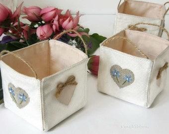 Mini Linen Storage Basket , Wedding Table Basket ,  Mini Fabric Organizer , Small Linen Bin