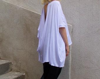 Extravagant White Blouse / Asymmetrical White Top / Extravagant White Summer Blouse TT55
