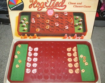 VINTAGE HOG TIED Rare Board Game, Pig Piggies Barnyard Action Fun by Selchow & Righter 1981, A Chase and Chance Game