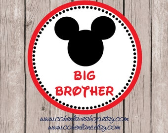 Instant Download Printable Big Brother Mickey Mouse Tshirt Iron on Transfer Design. Mickey Mouse Iron On Transfer.  Big Brother Iron on.