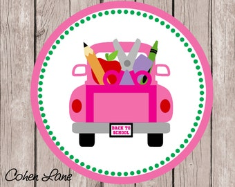 Instant Download Printable Back To School Tshirt Transfer Design. Truck Iron On. Printable Back To School Truck. First Day Of School Tshirt.