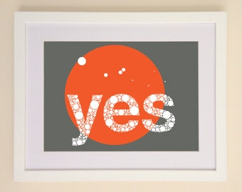 yes Art Print available in A4 or A3 printed on Archival Matte Paper