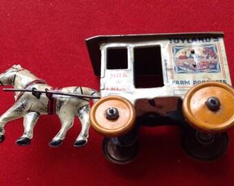REDUCED! Marx tin litho milk car horse toyland farm products milk