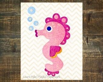 pink nursery art, seahorse art, ocean theme nursery decor, baby girl nursery decor, pink and orange, print for baby girls room, playroom art