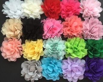 "SHOP CLOSING  10 Chiffon Blossoms 2.5"" grab bag, bulk, fabric flowers, headband flowers,"