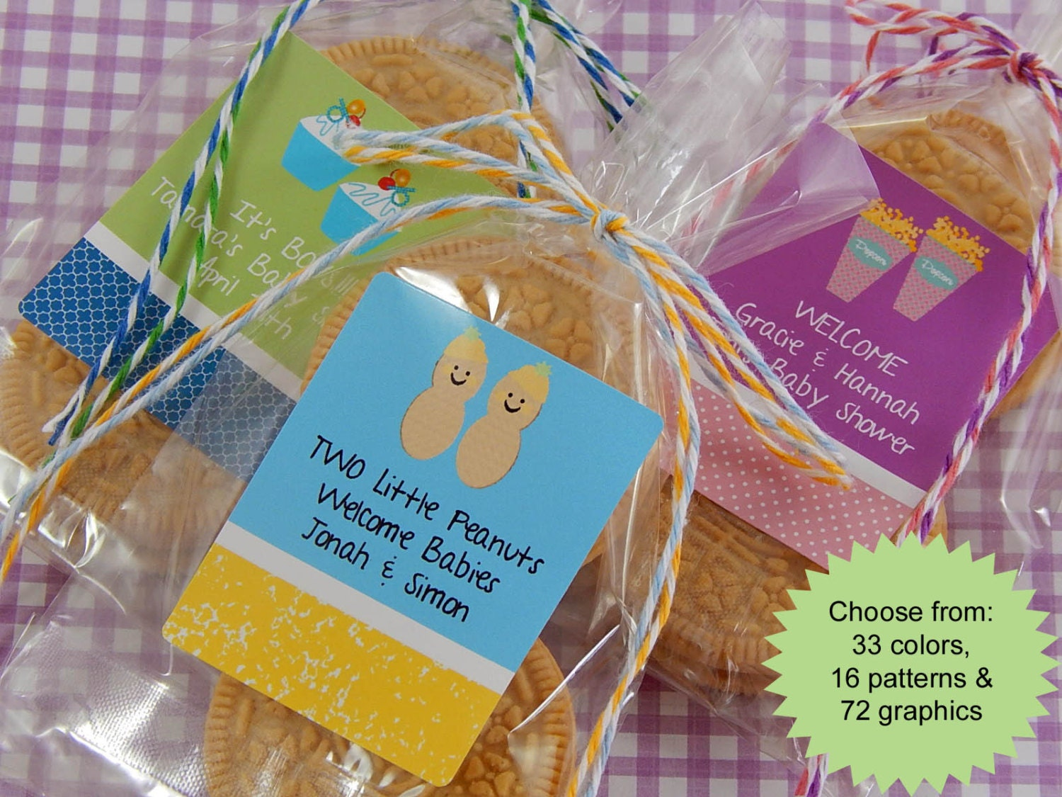 twin baby shower cookie bags favors twin by partyfavorsbydesign