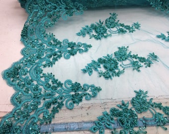 Elegant jade green hand beaded mesh lace. Wedding/ bridal/prom-nightgown- fabric lace.36x50inches. Sold by the yard.
