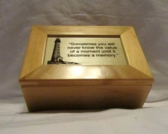 Personalized Wooden Keepsake Box- Engraved Lighthouse
