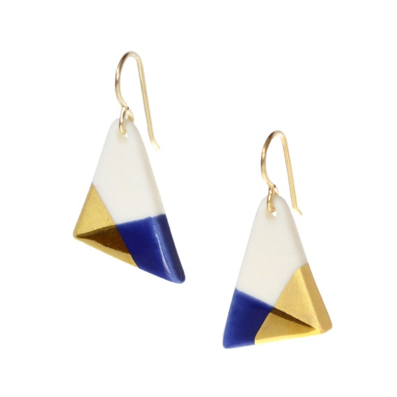 new triangle dangle earrings royal blue and gold dipped. Black Bedroom Furniture Sets. Home Design Ideas