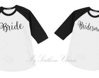Bridal Party Raglan Bridesmaid Gift Bachelorette Party Bride Bridesmaid
