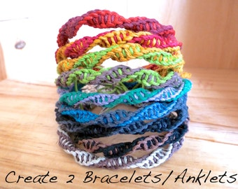 2 Hemp Bracelets and Anklets Adjustable ANY COLOURS. Men's Hemp Bracelets. Women's Hemp. Rainbow Bracelets.