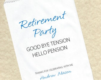 Retirement Party Personalized Candy Favor Buffet Party bags