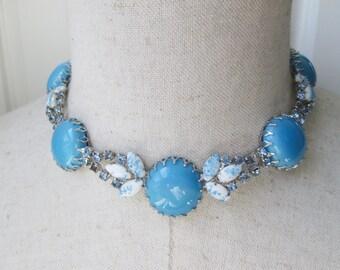 Sky Blue Art Glass Rhinestone Necklace Choker Silver Outstanding