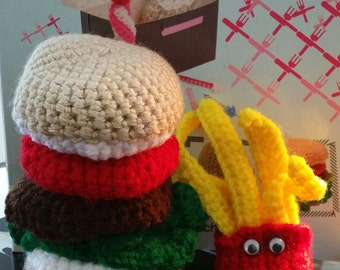 Amigurumi Fast Food : Items similar to Miniature - Fish Burger, fries and drink ...