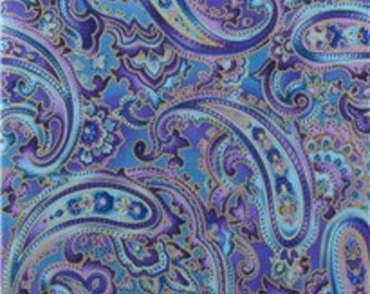 Blue Paisley 100% Cotton Fabric by the yard