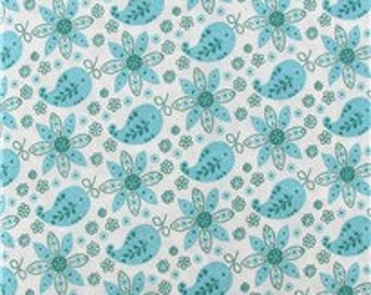 Blue Flower and Paisley 100% Cotton Fabric by the yard