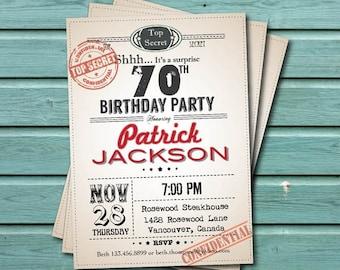 70th surprise birthday party invitation. Man, woman. Retro too secret. 30th 50th birthday. Printable adult birthday party invitation. AB004