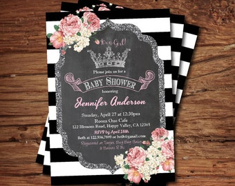 baby girl shower invitation. Floral chalkboard French black and white stripes, royal crown silver glitter baby shower printable invite B071