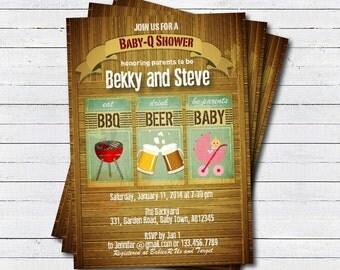 beer b q   etsy, Baby shower invitations