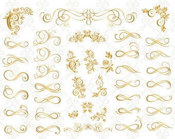 GOLD Digital Border Divider Ornate Clip Art GOLD Flourish Swirls Border Clipart Gold Corner Clip Art Scrapbook Decoration Embellishment 0131