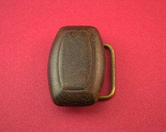 Vintage 1960's Dark Walnut Belt Buckle