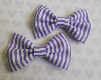 purple and white stripe hair bow set