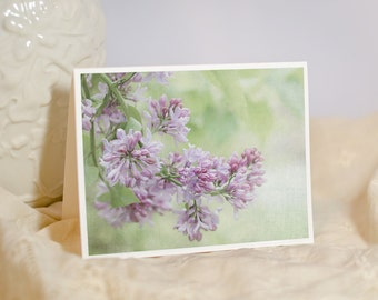 Floral Greeting Card - Lilac Photo Notecard - Fine Art Photo Card - Purple Flowers - Sympathy Card - Thank You Card - Blank or Personalized