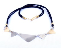 Silver and Brass Mix Metal Polished Triangles Linked on a Black Nylon Cord with Brass Wire Wrap Hook and Hoop (N55)