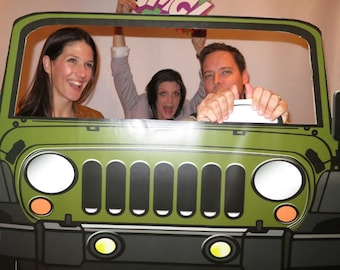 Army Green Jeep Style Photo Booth Prop - Jeep Prop, SUV Prop, Jeep PhotoBooth Weddings, Going away Parties DIY Instant Download Printable