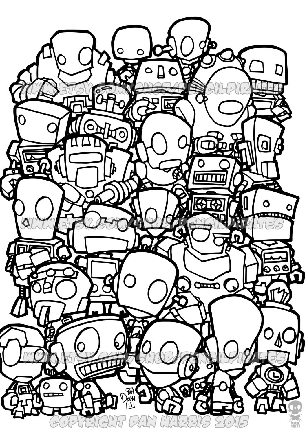 Robot Colouring Page Adult Book One