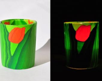 Candle holder polymer clay, tulip, home decor, art deco garden, lantern, tealight, flowers, garden deco, egst