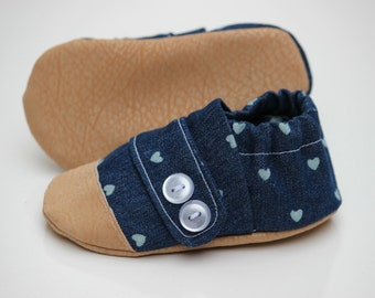 Denim Baby Moccasin, Cloth Baby Moccasin, Soft Soled Infant Shoe, Navy Moccasin, Leather Baby Shoe, Soft Sole Baby Shoes, Newborn Moccasin