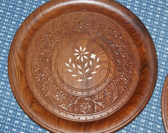 Beautiful Vintage Wooden Plate / Tray With Decorative Inlay From India
