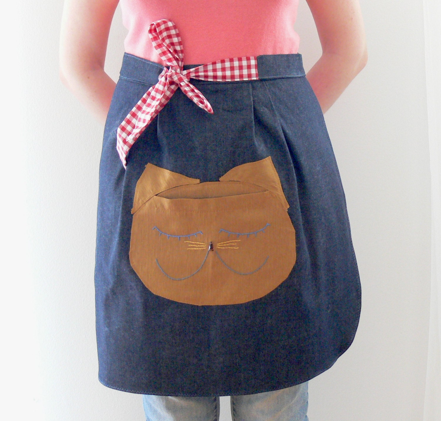 Cat Apron Half Apron with pockets Womens Aprons Kitchen